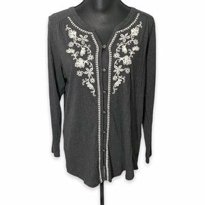 J. Jill Tunic Charcoal Gray Lace Detail Large Soft